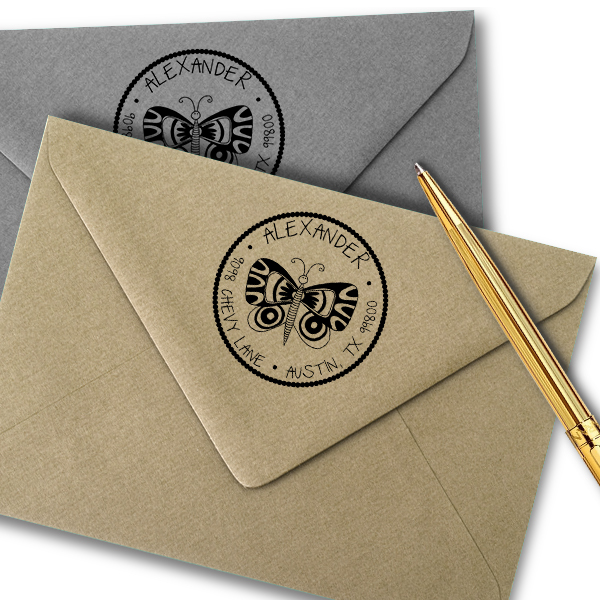 Butterfly Round Address Stamp Imprint Example