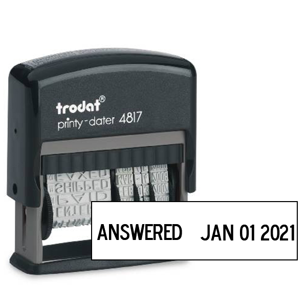 Trodat Dial Phrase Dater rubber stamp impression
