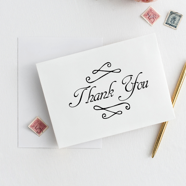 Fancy Thank You Stamp Imprint Example