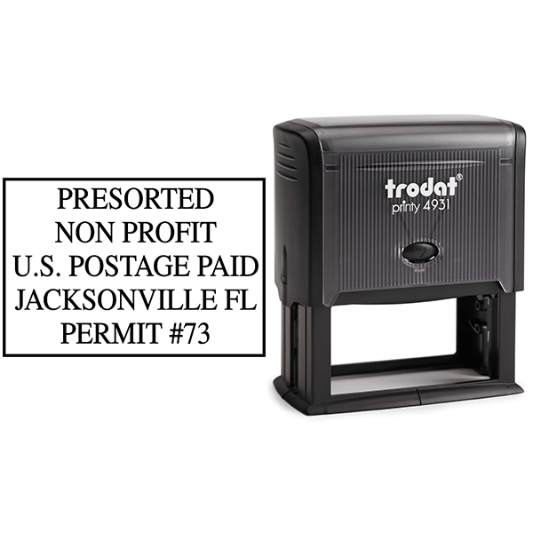 Pre-Sorted Non-Profit Postage Paid Permit Stamp Body and Design