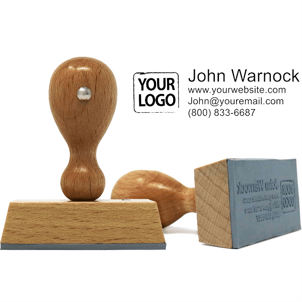 Logo Hand Stamp With Custom Text w/ Catalog Ink