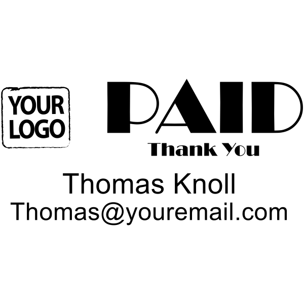PAID office stamp with custom logo