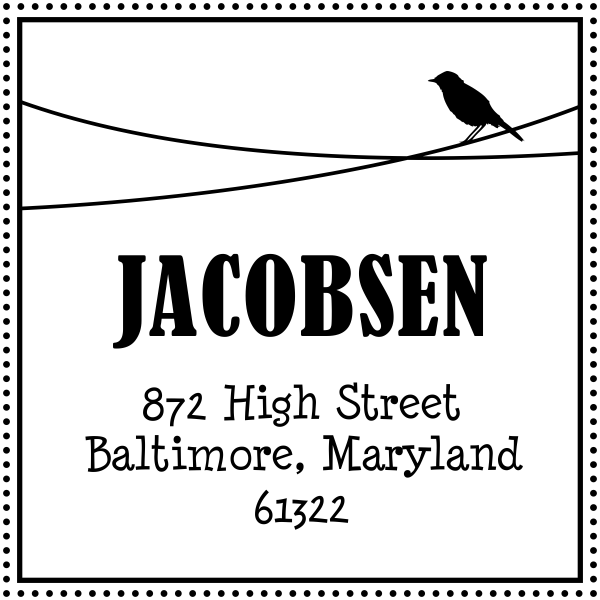 bird on a wire square rubber address stamp