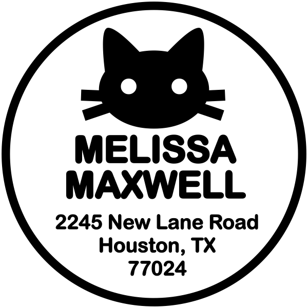 kitten address stamp custom design