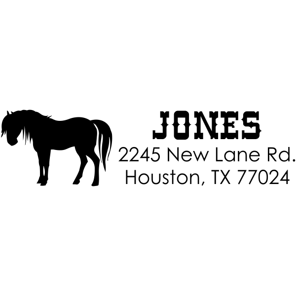 Jones Horse Address Stamp Rubber Stamp