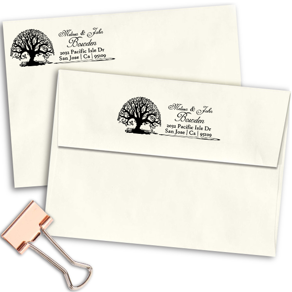 Bowden Curve Tree Address Stamp Imprint Example