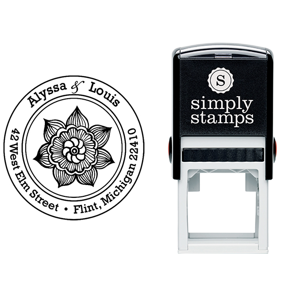Henna Daisy Flower Return Address Stamp Body and Design