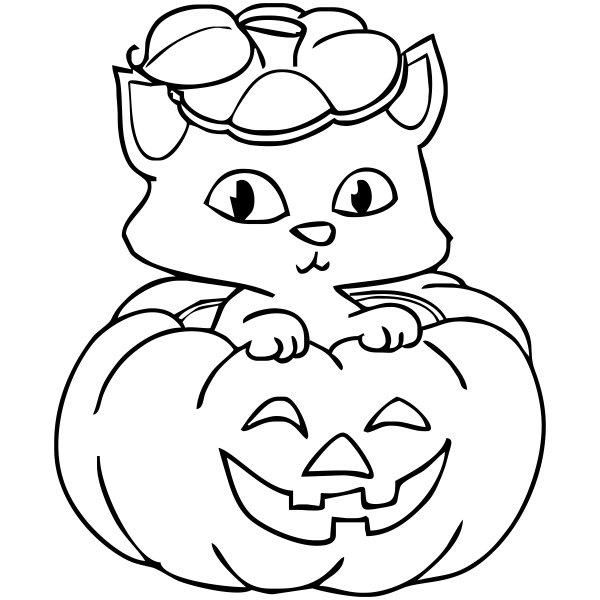 Small Kitten Pumpkin Halloween Stamp