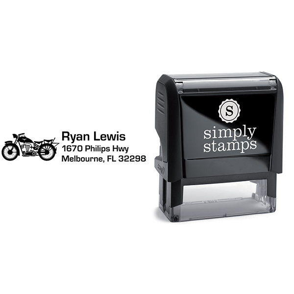 Roadster Motorcycle Return Address Stamp Body and Design