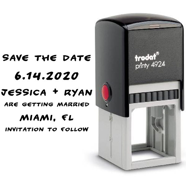 Handwritten Note Save The Date Rubber Stamp Body and Design