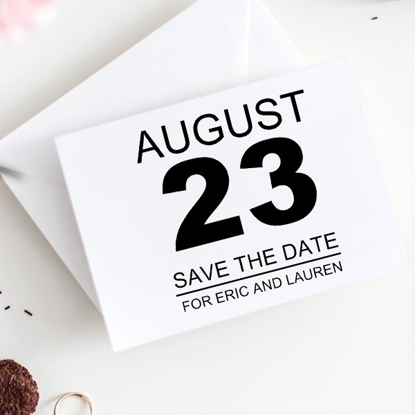 Calendar Page Save The Date Rubber Stamp Imprint Example