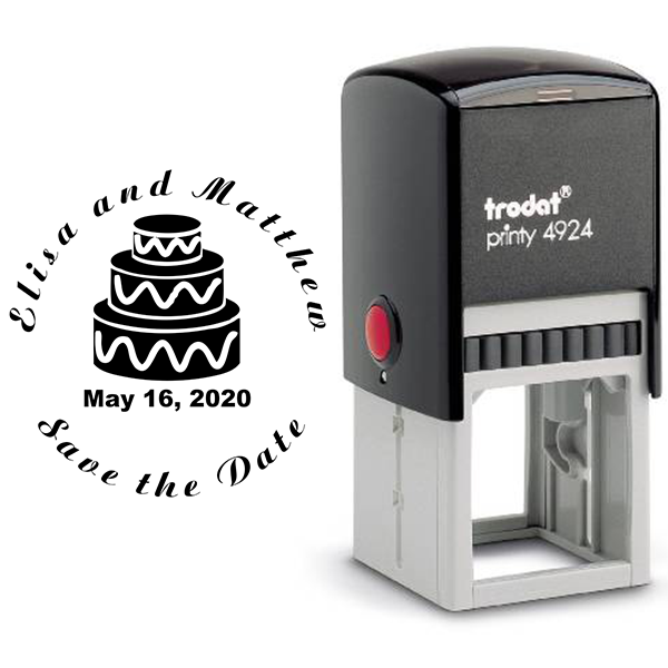 Cake Save The Date Rubber Stamp Body and Design