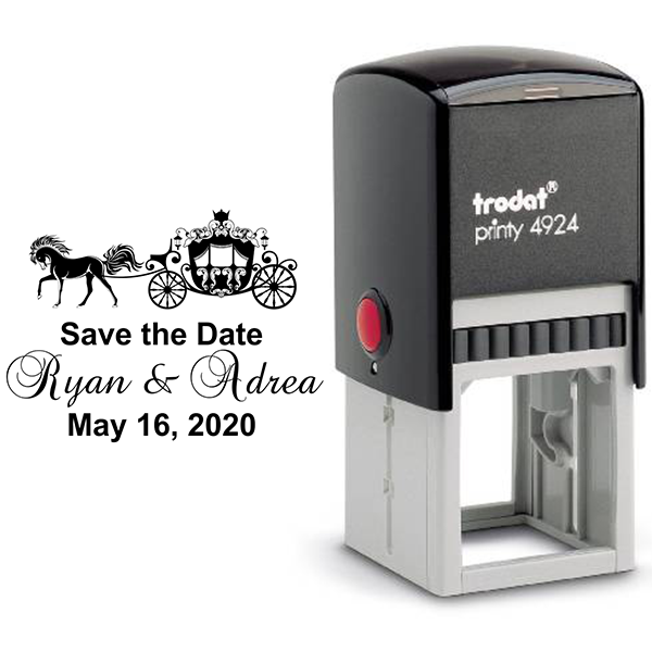 Fairytale Carriage Save The Date Rubber Stamp Body and Design