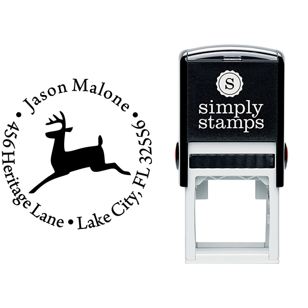 Leaping Reindeer Holiday Return Address Stamp Body and Design