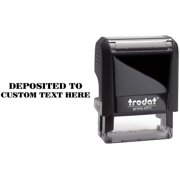 Custom DEPOSITED TO Mobile Check Deposit Rubber Stamp Body and Design