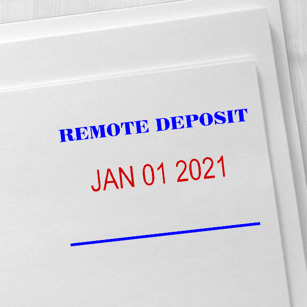 REMOTE DEPOSIT Dater Mobile Check Deposit Rubber Stamp Imprint Example