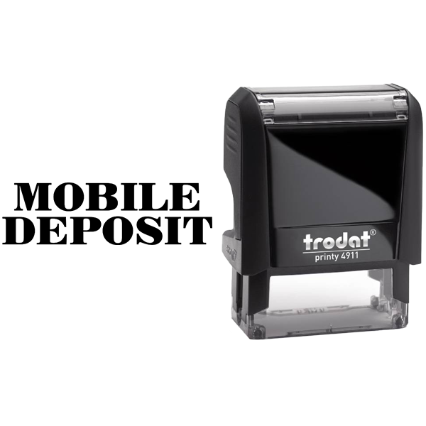 MOBILE DEPOSIT Mobile Check Deposit Rubber Stamp Body and Design