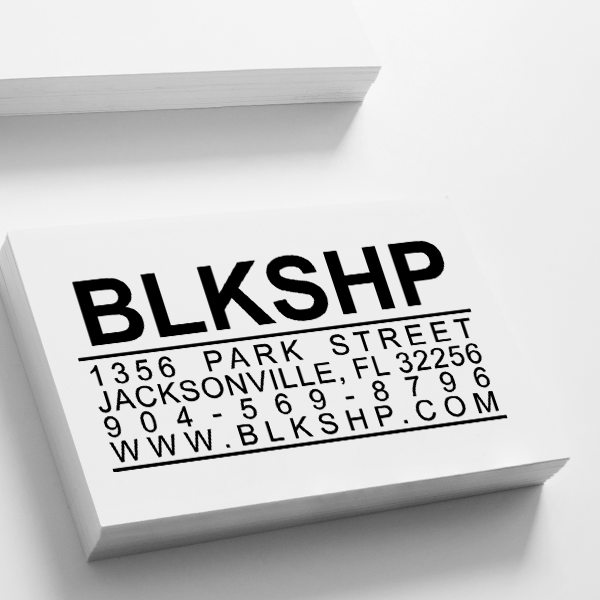 Bold Title Business Card Stamp Imprint Example