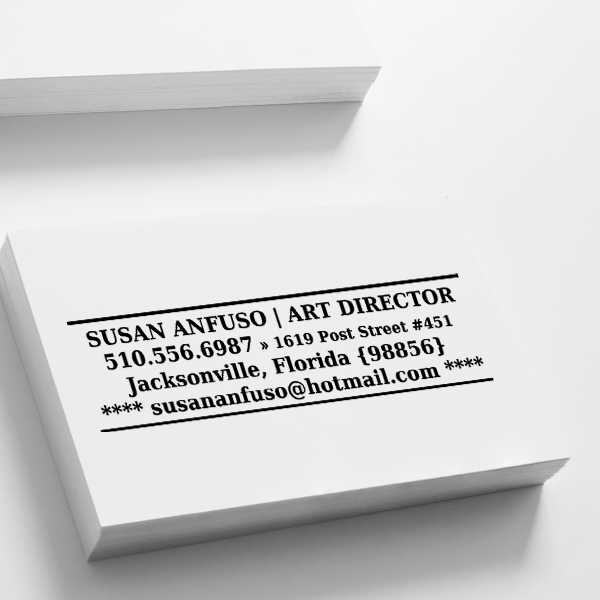 Lines and Stars Business Card Stamp Imprint Example