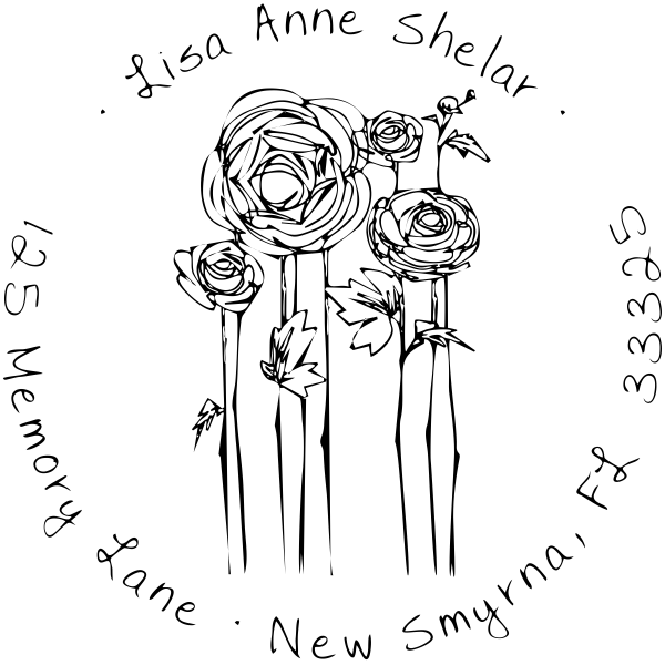 Flowers Sketch Custom Address Stamp