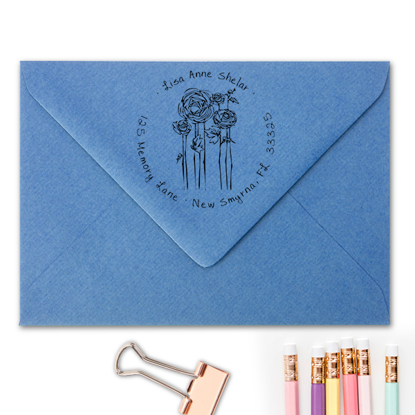 Flowers Sketch Custom Address Stamp Imprint Example