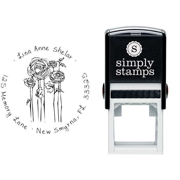 Flowers Sketch Custom Address Stamp Body and Design
