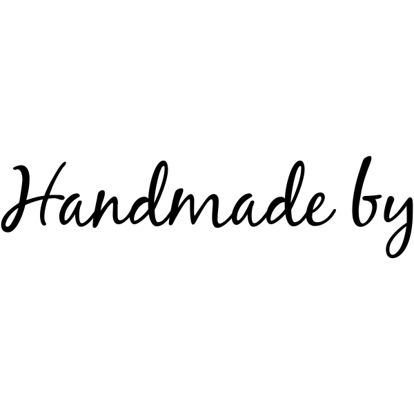 Handmade By Cursive Packaging Stamp Imprint Example