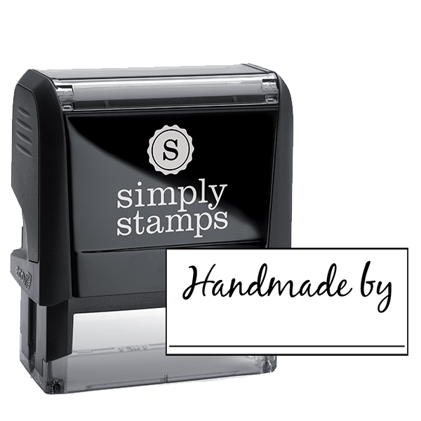 Handmade By Cursive Signature Line Packaging Stamp