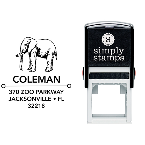 Standing Elephant Square Address Stamp Body and Design