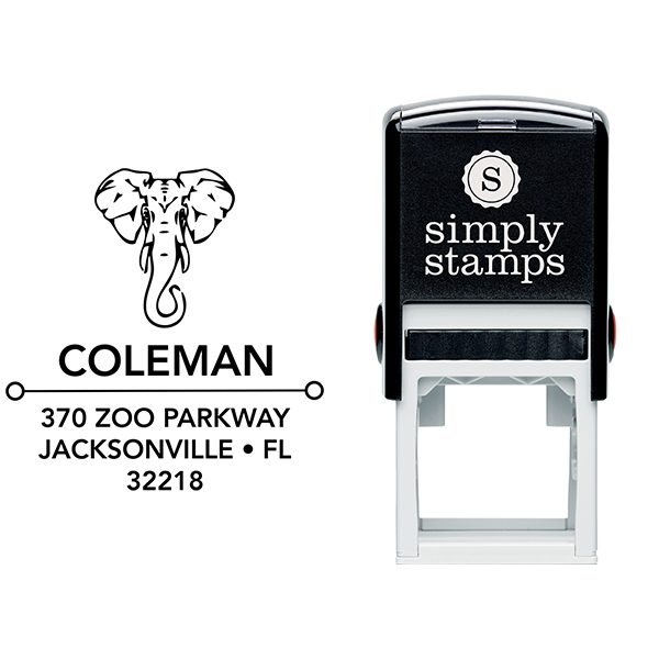 Proud Elephant Square Address Stamp Body and Design