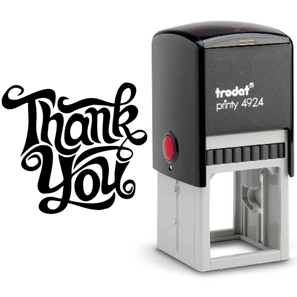 Thank You Artistic Square Stamp Body and Design