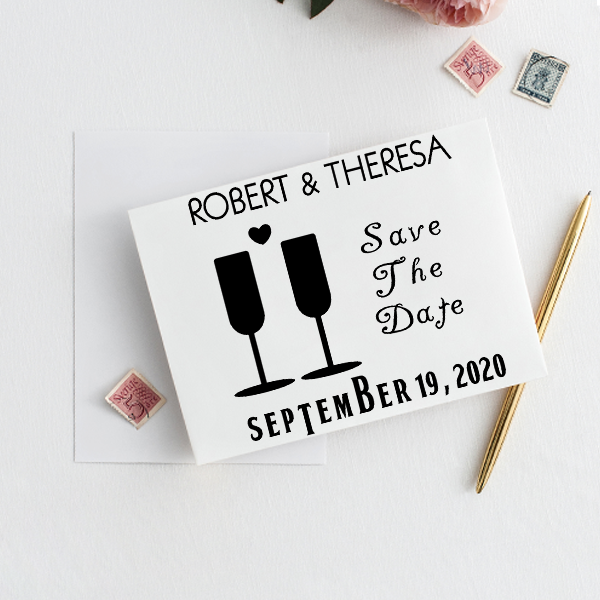 Heart Wine Glass Save the Date Stamp Imprint Example