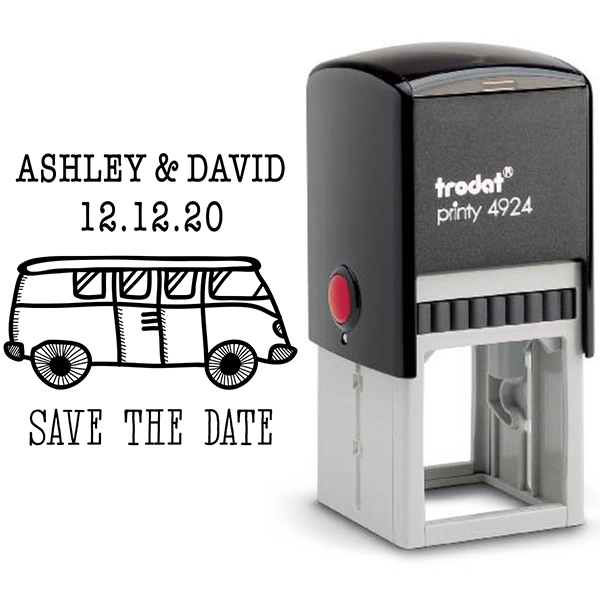 VW Bus Save the Date Stamp Body and Design