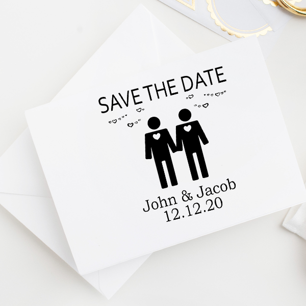 Gay Men Icon Save the Date Stamp Imprint Example