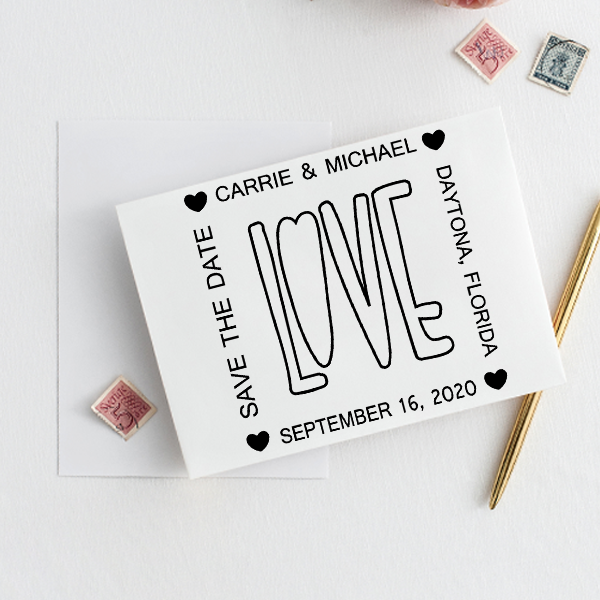 Love Save the Date Stamp Imprint Example