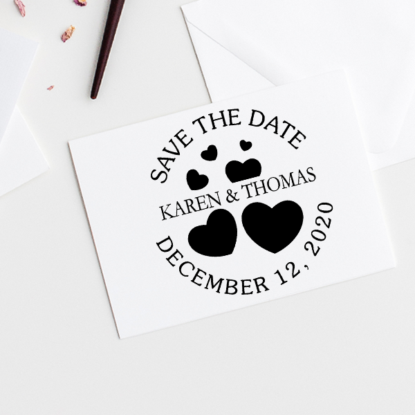 Save the Date with Hearts Stamp Imprint Example
