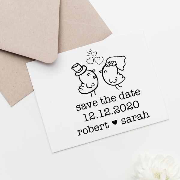 Couple Chicks Save the Date Stamp Imprint Example