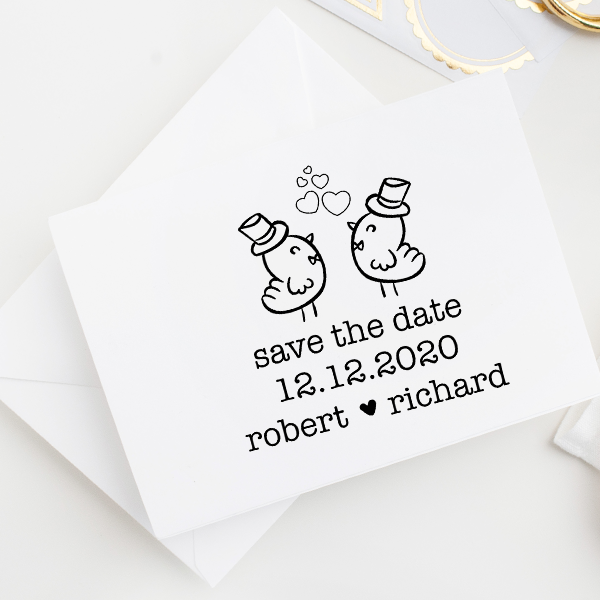 Gay Men Chicks Save the Date Stamp Imprint Example