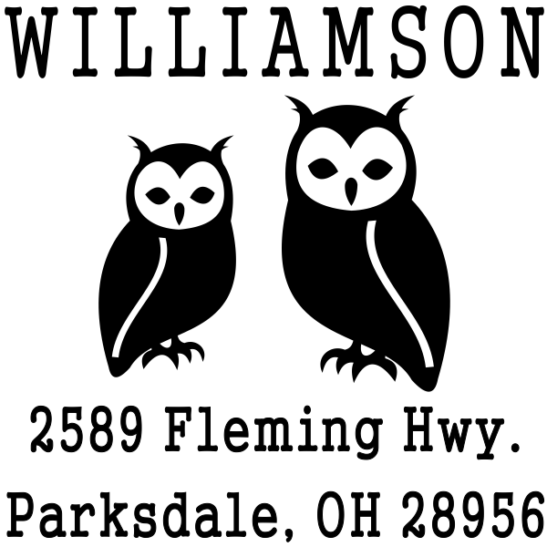 Two Horned Owls Address Stamp