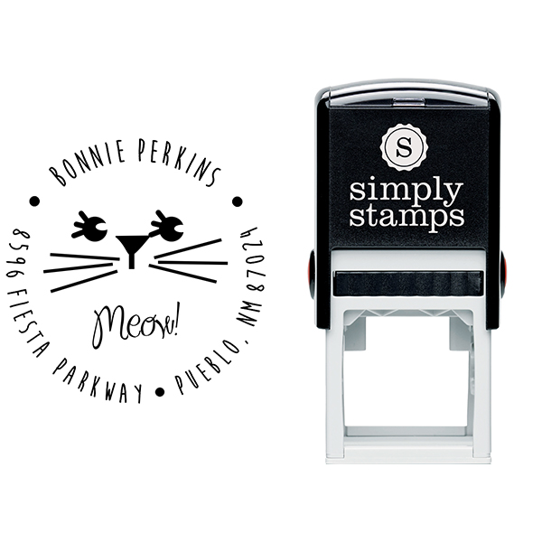Meow Girl Cat Address Stamp Body and Design