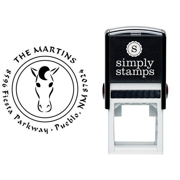 Curly Mane Horse Head Address Stamp Body and Design