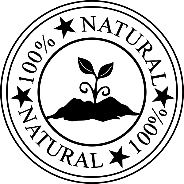 100% Natural Round Rubber Stamp Imprint Example