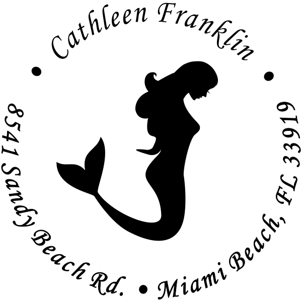 Mermaid Round Return Address Stamp