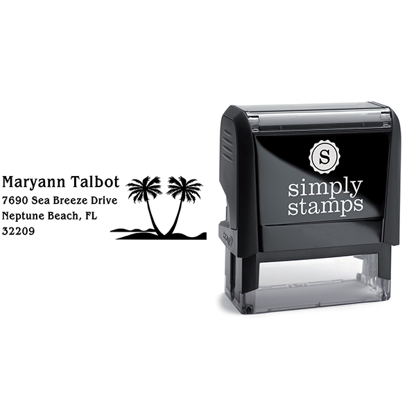 Double Palm Tree Return Address Stamp Body and Design