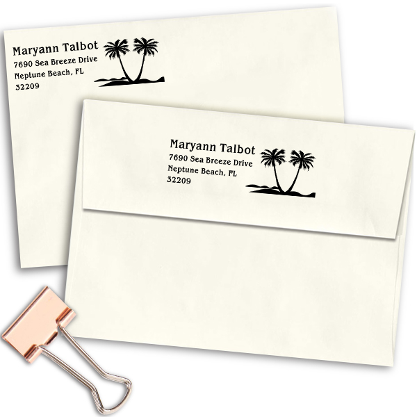 Double Palm Tree Return Address Stamp Imprint Example