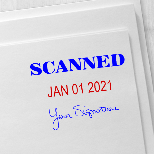 Scanned Signature Date Rubber Stamp Imprint Example