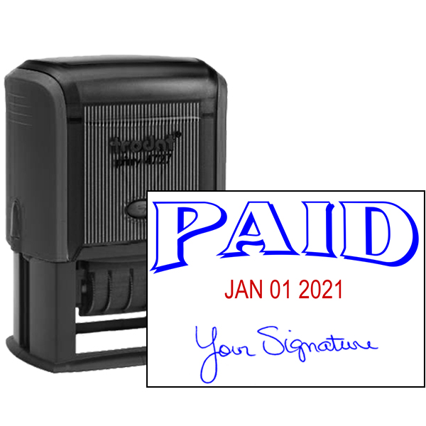 Paid Signature Date Rubber Stamp