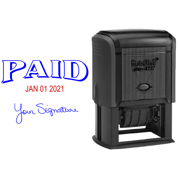 Paid Signature Self Inking Dater Simply Stamps