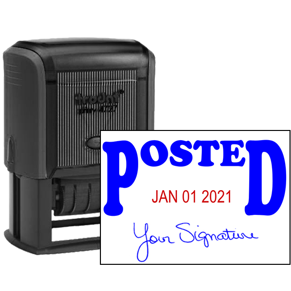 Posted Signature Date Rubber Stamp