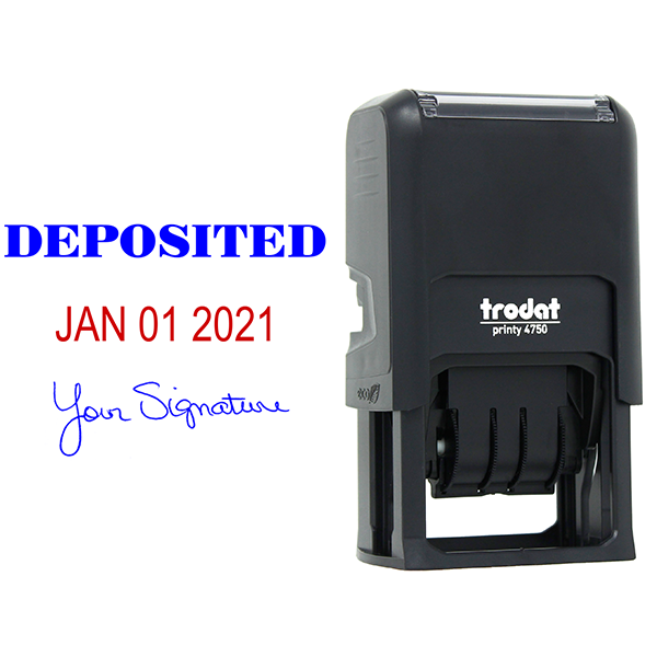 Deposited Signature Date Rubber Stamp Body and Design